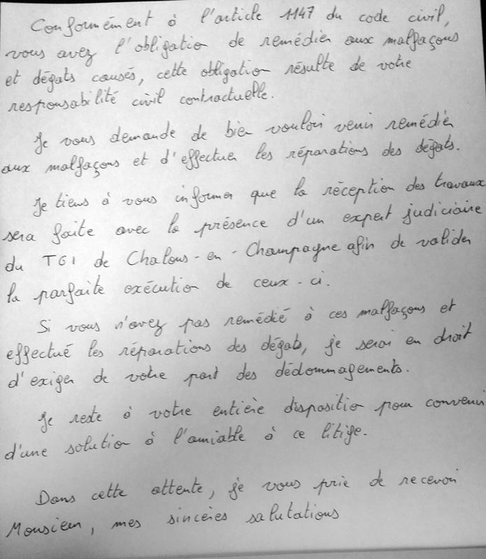 lettre pose non conforme au dtu 10